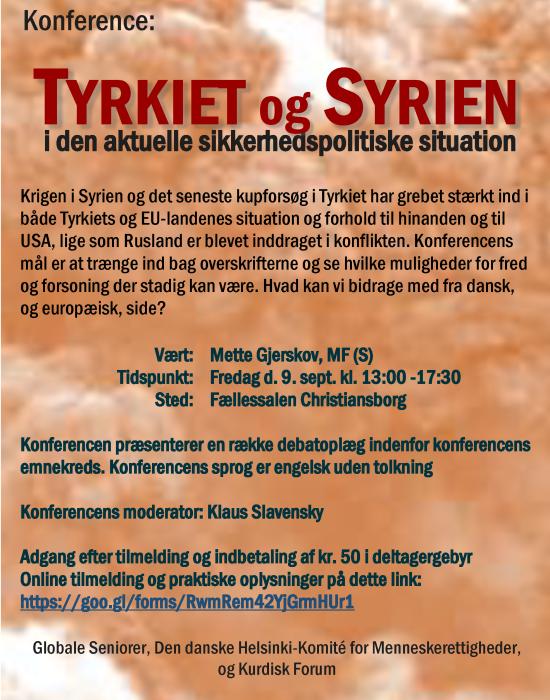 Konference: Tyrkiet og Syrien – i den aktuelle sikkerhedspolitiske situation