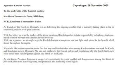 Appel til kurdiske partier