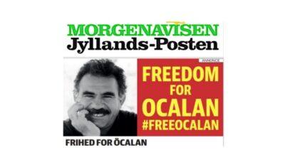 Jyllands-Posten udgiver en helsides annonce, der kræver frihed for Abdullah Öcalan